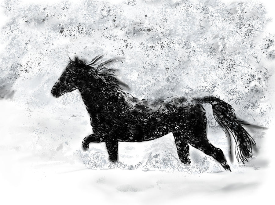 Horse in the Snow Print
