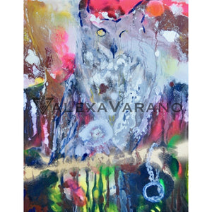 Owl Perched Print Original Painting