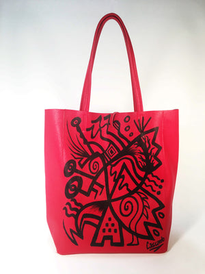 Hand Painted Cascardo Tote Bag (Red)
