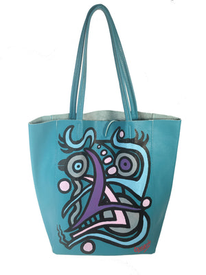 Hand Painted Cascardo Tote Bag (Turquoise)