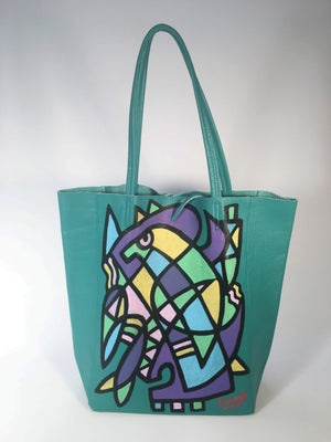 Hand Painted Cascardo Tote Bag (Turquoise 2)