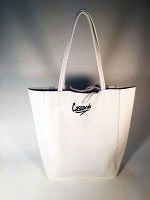 Hand Painted Cascardo Tote Bag (White)