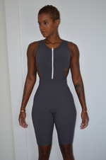 Solid Sleeveless Jumpsuit - Grey