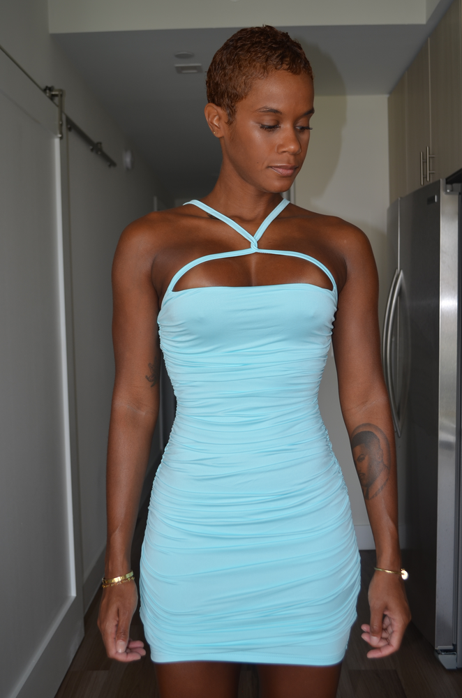 Sage Bodycon Dress - Blue