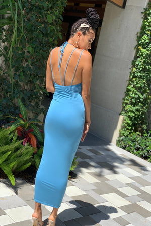 Sofia Bodycon Midi Dress (Sky Blue)
