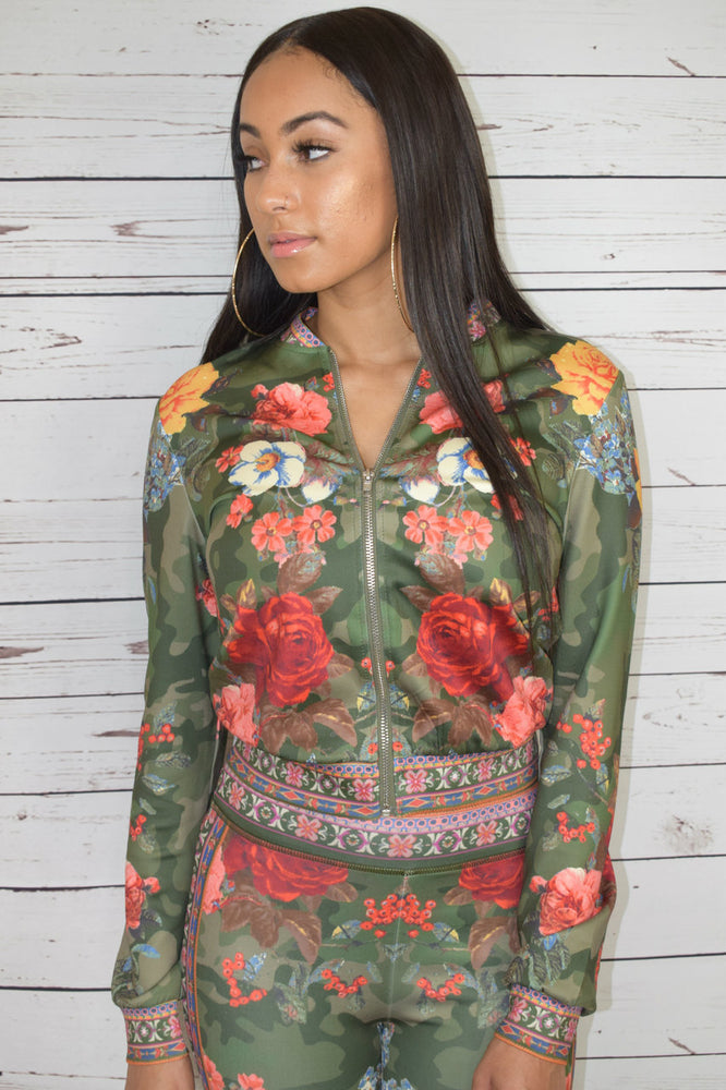 Camo Flower Tracksuit Set