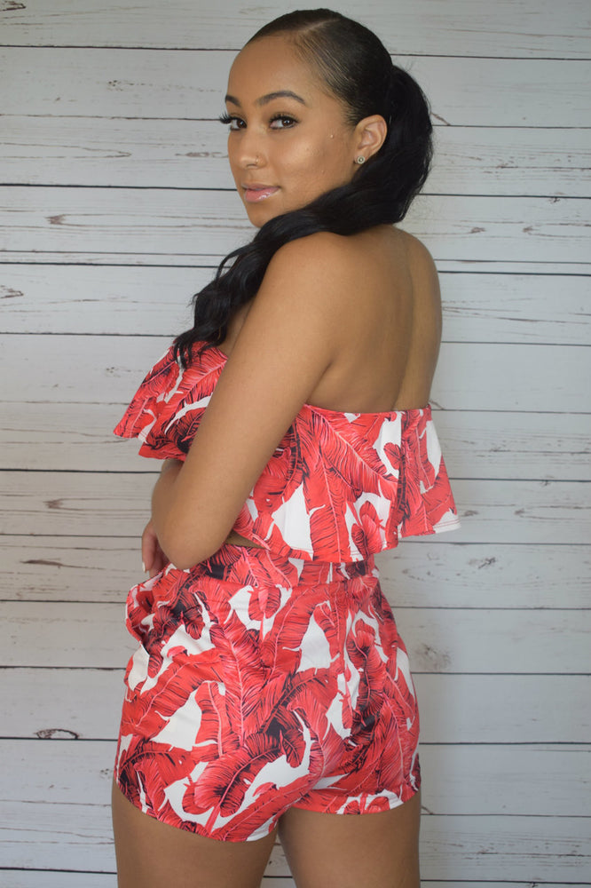 Floral Two Piece Set - Red