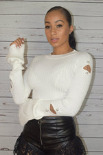 Missy Pearl Sweater Crop Top - Off White