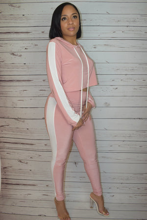 Blush Striped Hoodie - Crop Top