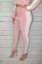 High Waist Blush Striped Leggings