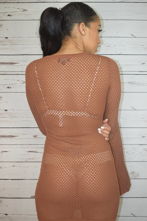 Fishnet Bells Sleeve Dress - Rust