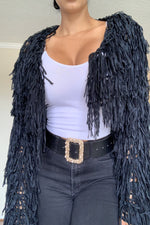 Fancy Fringe Blazer - Black