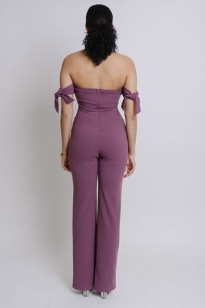 Off Shoulder Tie Knot Jumpsuit