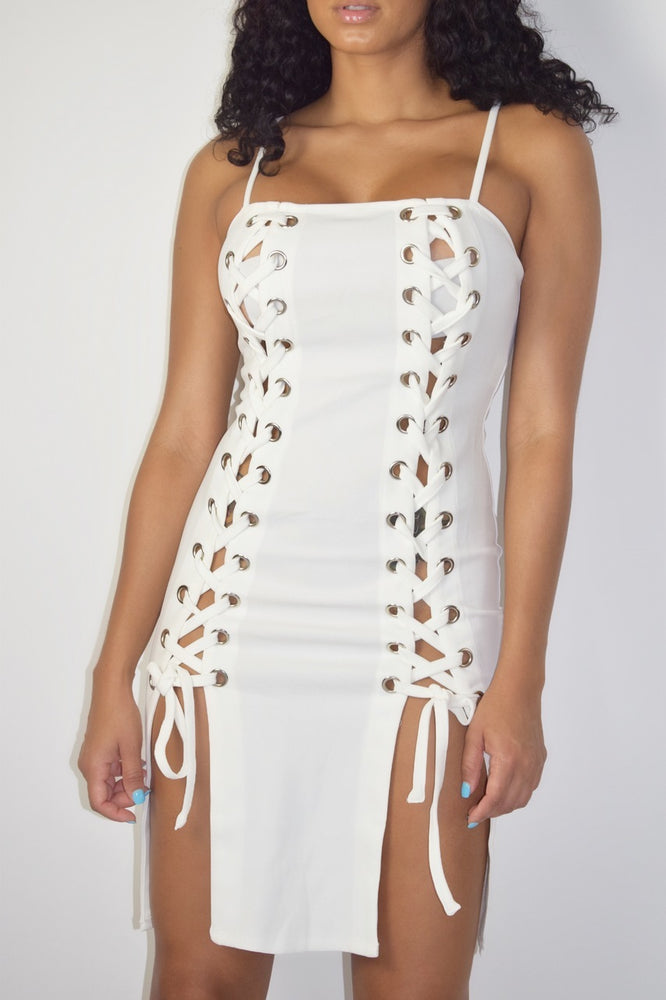 Lace Me Up Dress - White