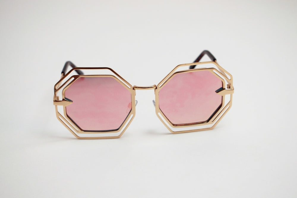 Vintage Octagon Sunglasses - Rose Gold