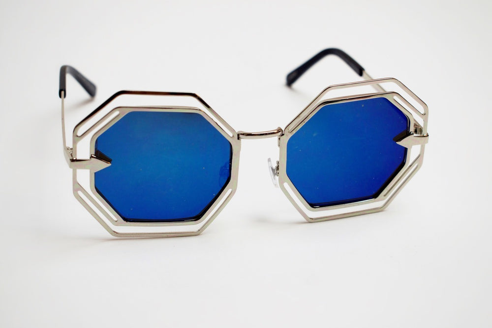 Vintage Octagon Sunglasses - Sliver Blue