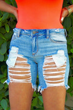 Denim Cut up Shorts