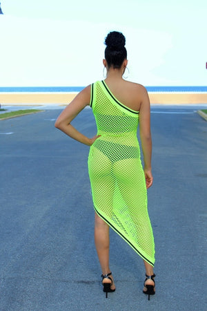 Fishnet One Shoulder Cover Up - Lime Green