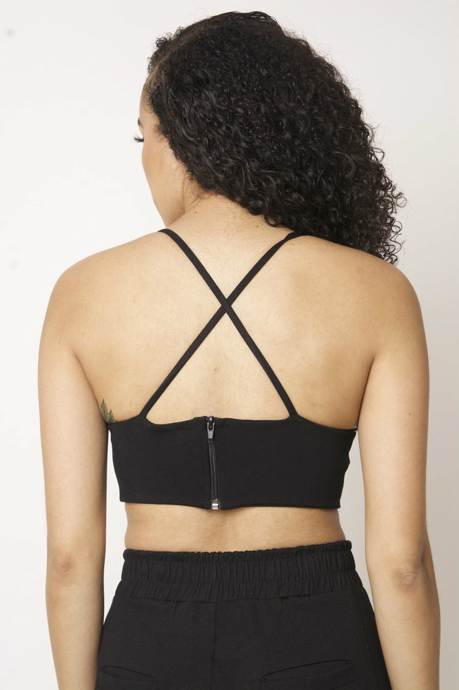Cross Back Crop Top - Black