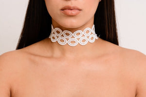 Double Circle White Choker