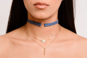 Denim Gold Choker