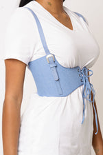 Light Blue Denim Corset Belt