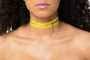 Yellow Zipper Choker