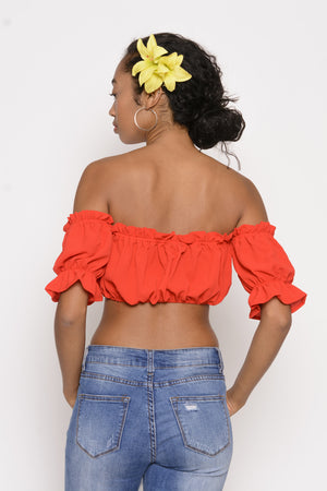 Rih Rih Crop Top - Red