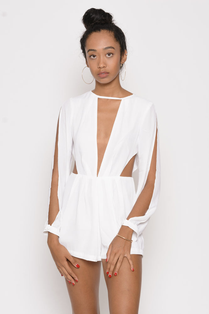 Kimmy V Cut Romper - White