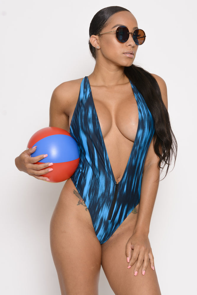 Sophia Deep V Swimsuit - Blue