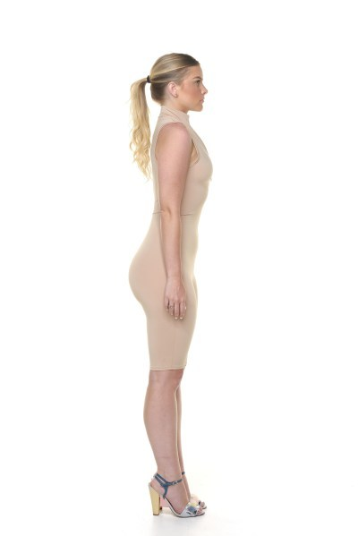Turtle Neck Unitard - Nude