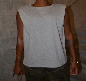 Shoulder Padded Top - Grey
