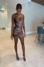 Sassy Satin Dress - Brown