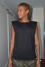 Shoulder Padded Top - Black