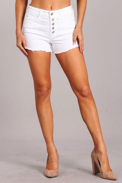 High Rise White Denim Short