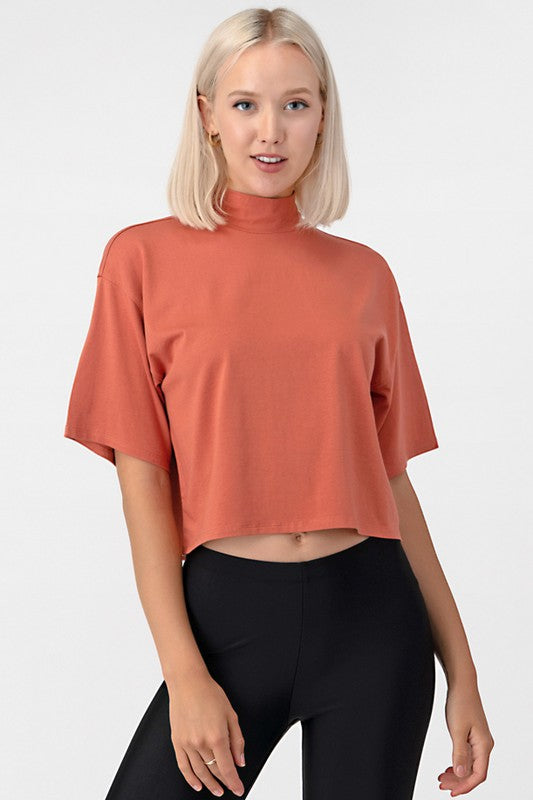 Mock Neck Box Top
