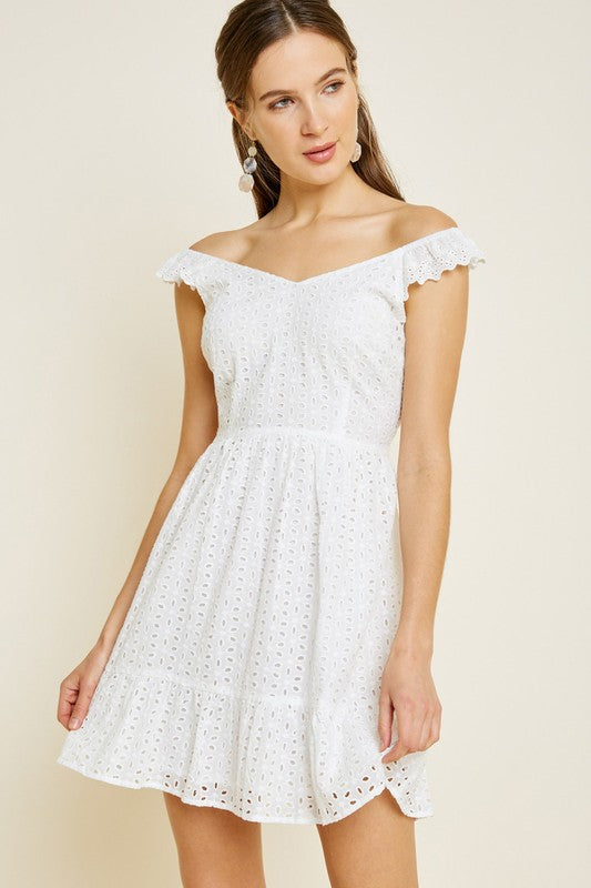 Eyelet Summer White Dress