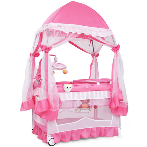 Portable Baby Playpen Crib Cradle w- Carring Bag