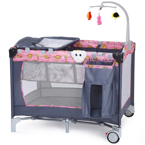 Foldable 2 Color Baby Crib Playpen Playard