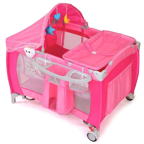 Foldable Baby Crib Playpen w- Mosquito Net and Bag