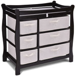 Sleigh Style Baby Changing Table with 6 Basket Drawers