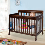 Coffee Pine Wood Baby Toddler Bed Convertible Crib