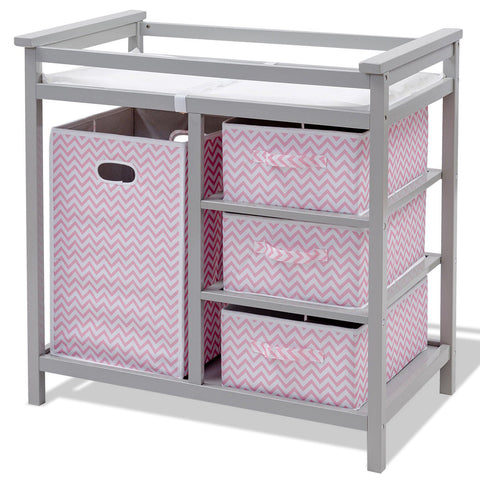 2 Colors Infant Diaper Storage Changing Table w- 3 Baskets