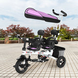 Twins Kids Baby Tricycle With Safety Double Rotatable Seat