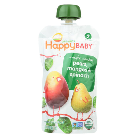 Happy Baby Organic Baby Food Simple Combos - Stage 2 - Pears, Mangos And Spinach - 3.5 Oz pouch - 16 count