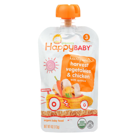 Organic Baby Food Hearty Meals - Stage 3 - Harvest Vegetables & Chicken with Quinoa - 4 Oz. Pouch - 16 count