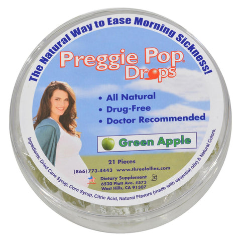 Preggie Pop Morning Sickness Relief Drops Natural Green Apple - 21 count