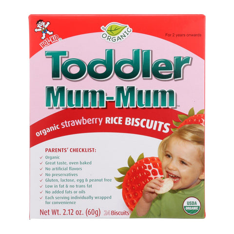 Toddler Mum-Mum Organic Strawberry Rice Teething Biscuits - 24 count