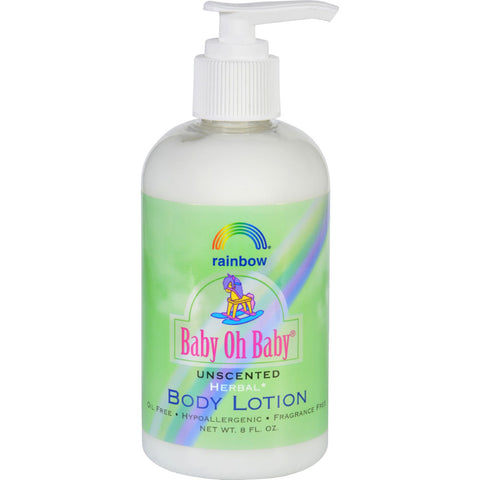 Rainbow Research Baby Oh Baby Unscented Herbal Body Lotion - Hypoallergenic Gluten-Free Fragrance Free - 8 Fl Oz