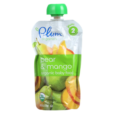 Plum Organics Organic Baby Food - Second Blends Pear and Mango Pouch - Stage 2 for 6+ Month Old Babies - 4 oz. Pouch - 6 Count